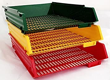 Archivador A4 con bandejas del color del semáforo (3 bandejas color rojo, amarillo y