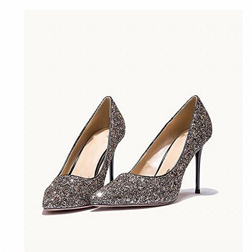 de Primavera Altos Tacones Occidentales Salvaje Zapatos con Banquete de 36 con Lentejuelas nbsp;Segundo de Zapatos DHG Novia Femenina Altos Zapatos pq5xnB8x