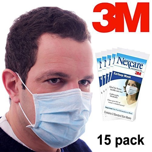 15 Pack Nexcare 3M Disposable Earloop Face Masks Health Supplies Bacteria Protection Professional (Sick Person Halloween Costume)