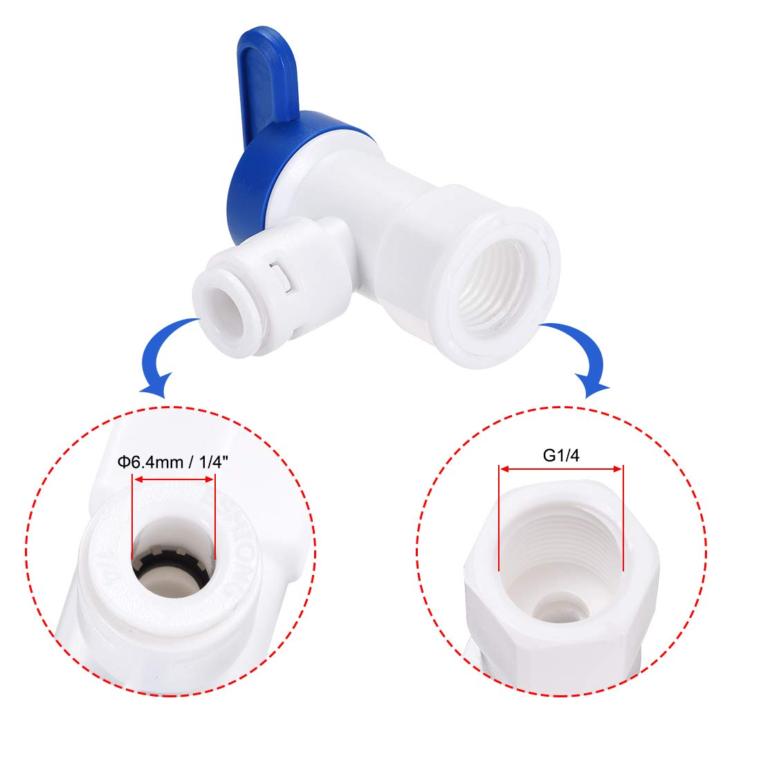 Water Tube Fitting uxcell Elbow Quick Connector Ball Valve Blue Handle Water Purifiers Water Filters for RO Water Systems G1//4 Female Thread White 2Pcs 1//4 Tube OD