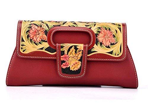PINCHU Bolso Estampado En Relieve Del Diseñador De Moda Del Bolso De Las Mujeres,Green Red