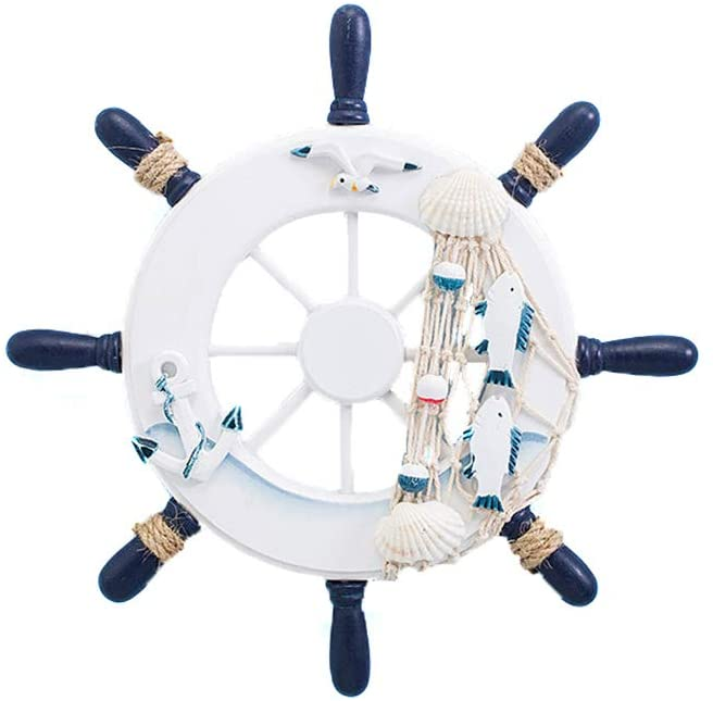 Hooshing Boat Steering Wheel Decor Wooden Mediterranean Style Crafts Rudder Wall Decoration Fishing Net for Wall Door Home Office White