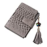 Eastlion Ladies Short Section Leather Wallet Three-fold Small Cards Wallet,Style 2,Grey