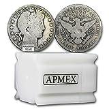 1892 -1915 90% Silver Barber Halves $10 20-Coin Roll Avg Circ Silver Very Good