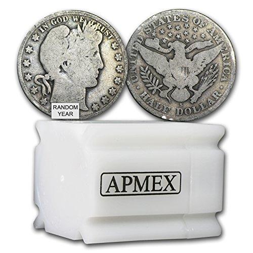 1892-1915 90% Silver Barber Halves $10 20-Coin Roll Avg Circ Silver Very Good