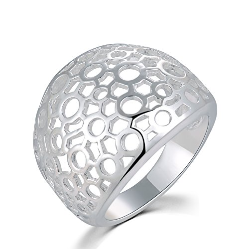 MBLife 925 Sterling Silver Filigree Style Bubble Halo Design Dome Ring