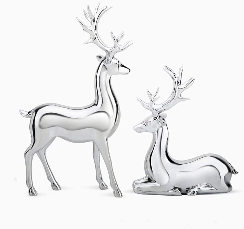 Seasonal Décor Collectible Figurines Home Creative Decoration Golden Deer Living Room Wine Cabinet Decorations Office Decoration Home Wedding Gifts (Color : Silver, Size : 20.5931.8cm)