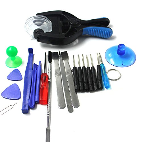 (JahyShow 18 Pieces Most Complete Premium Repair Tool Kit for iPhone 4/4S/5/5C/5S/6/6 Plus (GSM/CDMA)/6S/iPad 4/3/2/Mini, iPods and more with Vastar cleaning cloth)