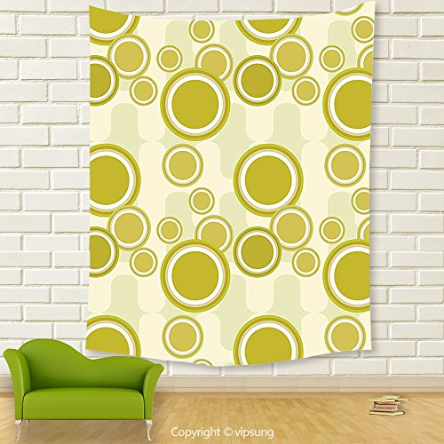 Vipsung House Decor Tapestry_Retro Big And Little Dots On Abstract Backdrop Vintage Style Geometric Pattern Pale Green Yellow White_Wall Hanging For Bedroom Living Room (Little Alchemist Halloween)