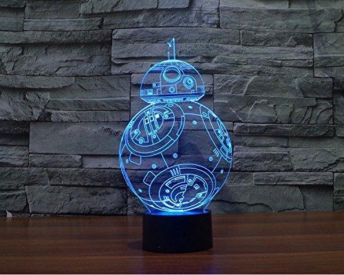 3D Illusion Lamp , elecfan® 7 Light Color Changeable Lamp USB Touch Button LED 3D Optical Illusion Table Light - Shark Panel Model A02