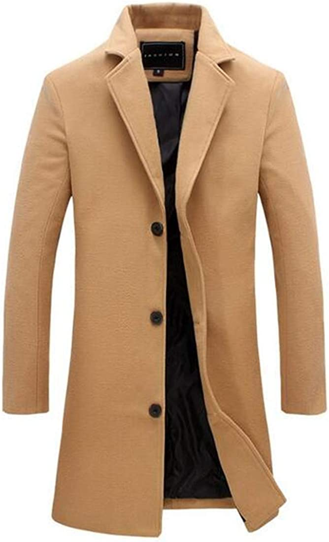 GRMO Men Office Single Breast Outwear Pure Color Turn-Down Collar Trench Coat Khaki US 3XL