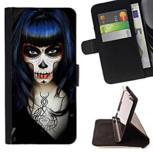 Momo Phone Case / Flip Funda de Cuero Case Cover - Goth Girl Muerte Rock Metal Negro - Samsung Galaxy S5 V SM-G900