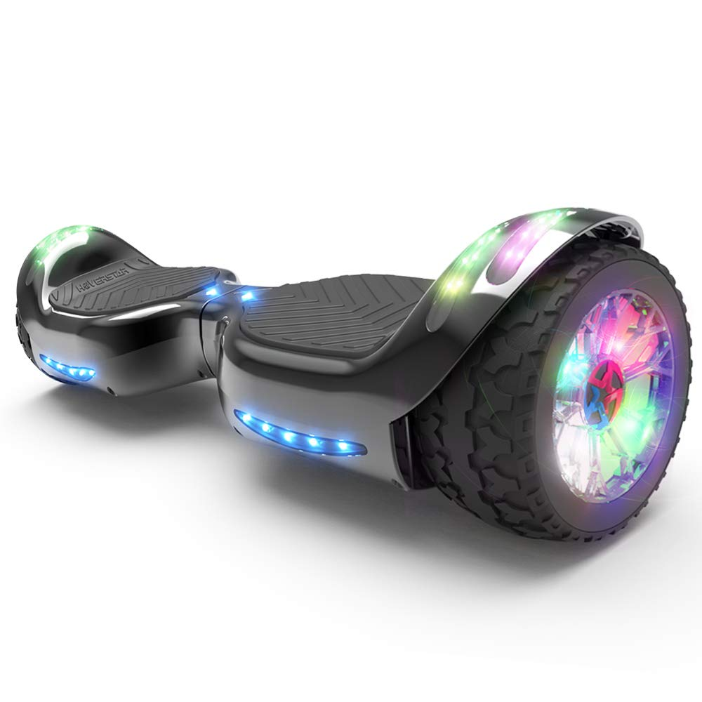 Hoverboard All-Terrain LED Flash Wheel with Bluetooth Speaker LED Light Self Balancing Wheel Electric Scooter (Chrome Black)