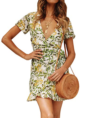 PRETTYGARDEN Women's Summer Deep V Neck Leaf Printed Ruffle Hem Split Wrap A Line Mini Dresses with Belt (White, Medium)