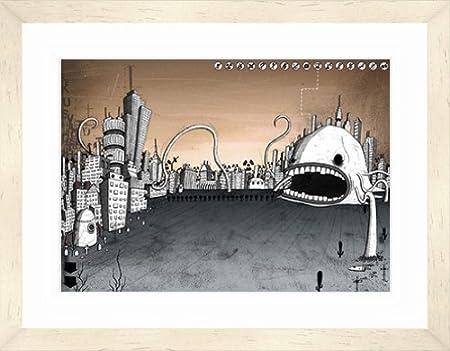 si clark city attack a2 birch contemporary framed art print