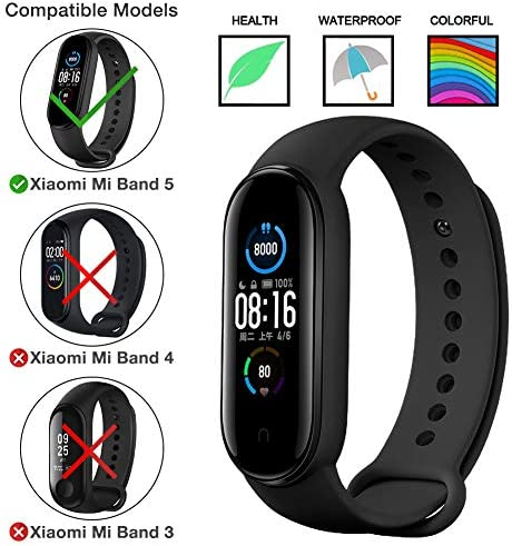 Watch Bands for Xiaomi Mi Band 5 2020,Classic Style Silicone Wristband Bracelet Watch Strap for Xiaomi Smart Band 5 (8 Pack) 1