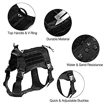 Pettom Tactical Service Dog Molle Vest Outdoor Adjustable Water