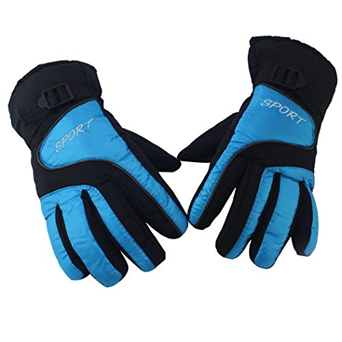 APAS Winter Unisex Thermal Full Finger Cuffed Gloves for Outdoor Sports Skiing Snowboarding Cycling Motorcycling Sky Blue