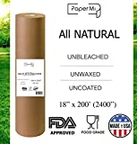 """wax craft paper - Kraft Brown Butcher Paper Roll 18"""" x 200' (2400"""") All Natural, USA Made Wrapping for Arts & Craft, Packaging, BBQ, Smoke Meat, Brisket - FDA Approved Food Grade, Unbleached, Unwaxed, Uncoated Sheet"""