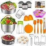 Instant Pot Accessories Set,20 Pcs Pressure Cooker Accessories Set for 5,6,8 Qt,Non-stick Springform Pan, Egg Slicers,Peeler,Steamer Baskets, Egg Bites Mold,Egg Steamer Rack