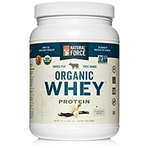Natural Force® Organic Whey Protein Powder *RANKED #1 BEST TASTING* Grass Fed Whey – Undenatured Whey Protein – Raw Organic Whey, Paleo, Gluten Free Natural Whey Protein, Vanilla Bean, 14.1 oz.