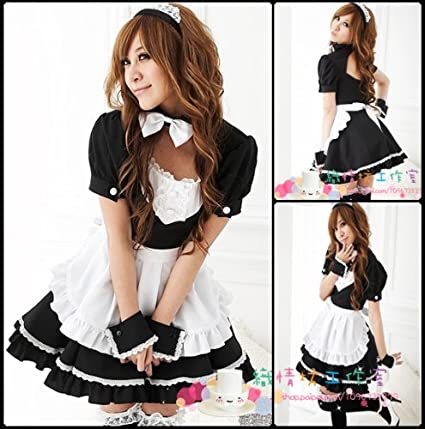 Amazon.com Black Cute Maid Costumes Fancy Party Dress For Halloween Fit size Fast Ship Toys u0026 Games  sc 1 st  Amazon.com & Amazon.com: Black Cute Maid Costumes Fancy Party Dress For Halloween ...