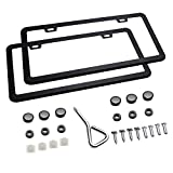 Ohuhu 2 PCS Slim Bottom License Plate Frames Matte Black Powder Coated Wont Block Letters/Stickers