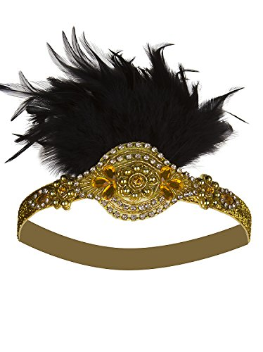 - Vijiv Gold Beaded Flapper Headband Inspired Great Gatsby 1920s Headpiece Accessories Feather Vintage