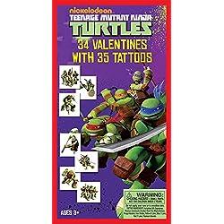 Paper Magic 34CT Deluxe - Tattoos Teenage Mutant Ninja Turtles Kids Classroom Valentine Exchange Cards