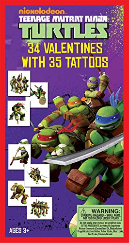 Paper Magic 34CT Deluxe - Tattoos Teenage Mutant Ninja Turtles Kids Classroom Valentine Exchange Cards (Ninja Turtle Valentine compare prices)