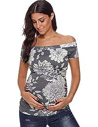 Womens Maternity Tops Off Shoulder Short Sleeve Side...