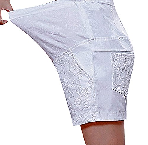 US&R, Women's Relaxed Pastel Flower Embroidery Secret Fit Belly, White 10 ,Manufacturer(XXL)