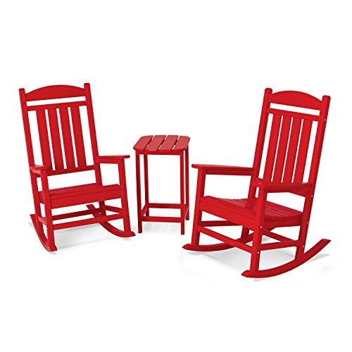 POLYWOOD PWS139-1-SR Presidential 3-Piece Rocker Chair Set, Sunset Red ()