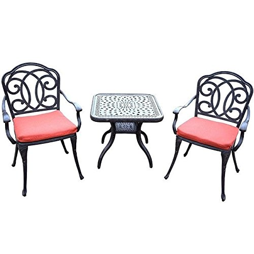 Oakland Living Corporation Verona Cast Aluminum 3-Piece Cafe Set, with 2 Cushioned Chairs, and 24-inch Side Table