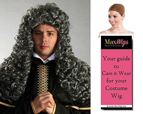 Bundle 3 items: Aristocrat Long Judge Parliament English Enigma Wigs, Mixed Grey, Wig Cap, MaxWigs Costume Wig Care (Aristocrat Adult Costumes)