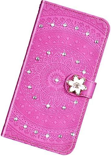 Urhause Kompatibel mit Samsung Galaxy A60,Mandala Prägung Glitzer Ledertasche PU Flipcase Handytasche Ständer Mit Magnetverschluss Schlüsselband Schutzhülle,lila Rot