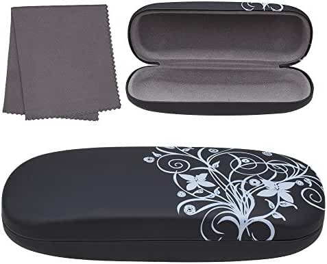 Hard Eyeglass Case, Floral Designed Protective Clamshell Holder for Glasses and Sunglasses, with Microfibre Cleaning Cloth - by OptiPlix