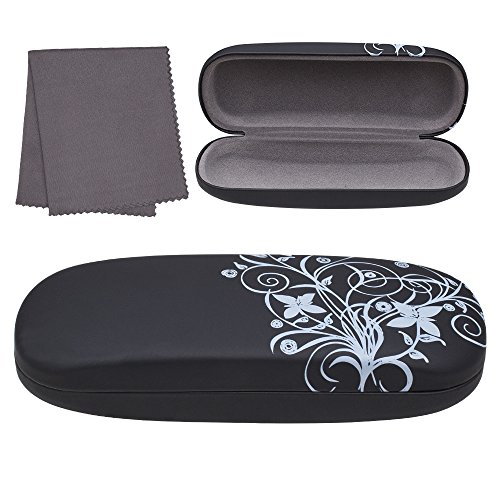 Hard Eyeglass Case, Floral Designed Protective Clamshell Holder for Glasses and Sunglasses, with Microfibre Cleaning Cloth - Black - by OptiPlix