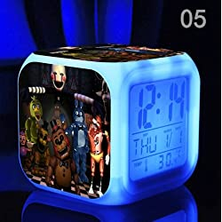 Five Nights at Freddy's Cartoon Games Freddy's Bear Action Figure 7 Colors Change Digital Alarm LED Clock Cartoon Night Colorful Toys for Kids (Style 5)