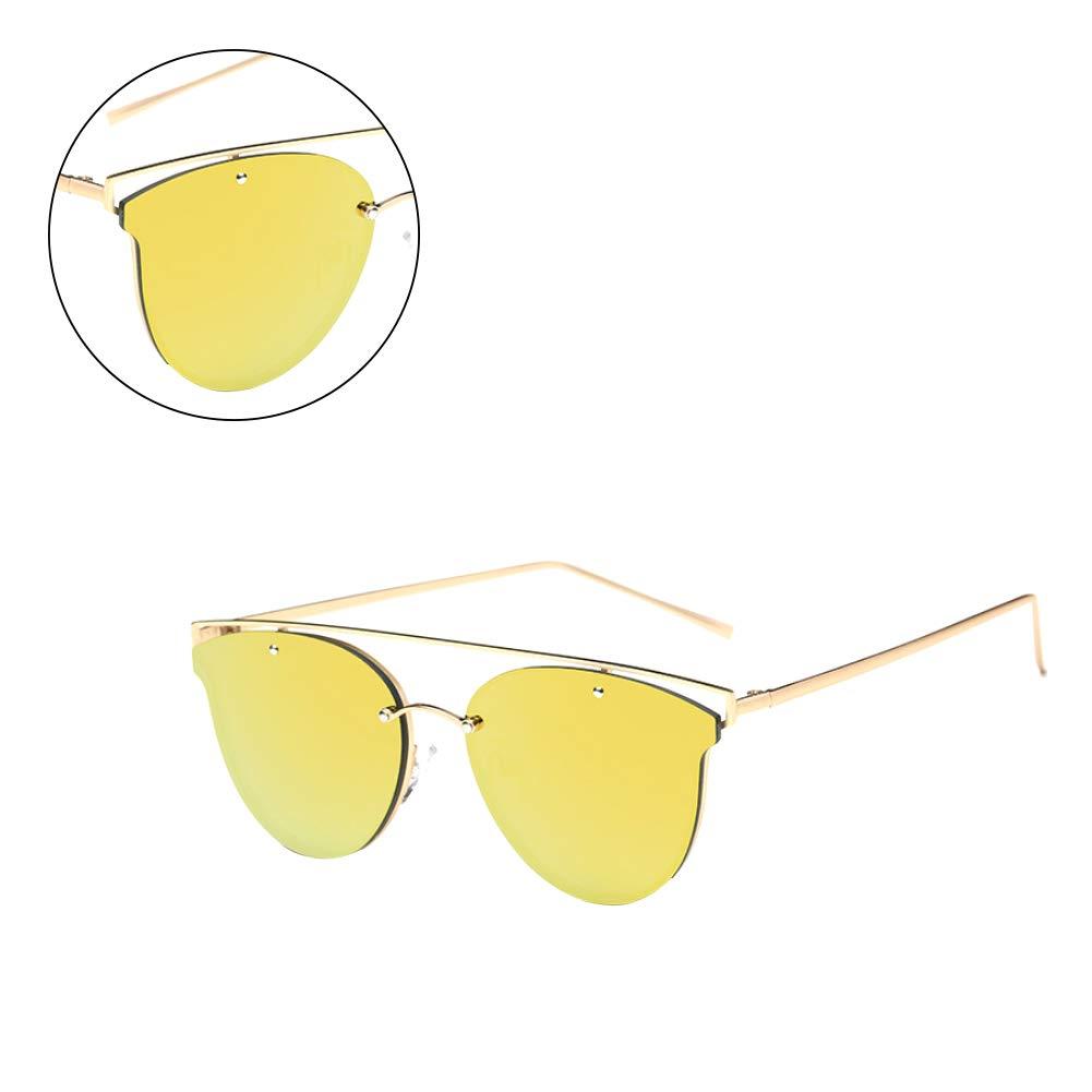 Fashion Unisex Sunglasses Lightweight Aviator Sunglasses Flat Oval Frameless UV Protection Sunglasses Golden and Yellow