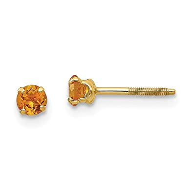ffcc6df20 Image Unavailable. Image not available for. Color: 14K Yellow Gold Madi K  3mm Citrine Birthstone Screw Back Stud Earrings