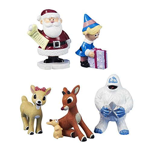 Kurt Adler Polyresin Rudolph The Red-Nosed Reindeer Figurine, Set of 5
