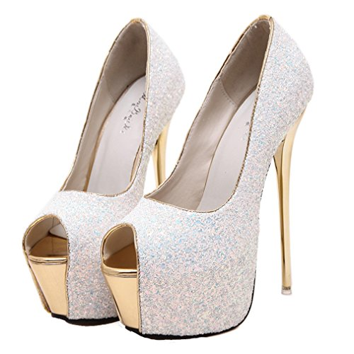 YE Damen Peeptoes High Heels Plateau Stiletto Pailletten Glitter Fashion Party Pumps Schuhe Weiß