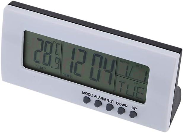 Fangfeen Multifonctionnel int/érieur Horloge num/érique /électronique Calendrier dalarme Thermom/ètre Salon Affichage de lhumidit/é Chambre