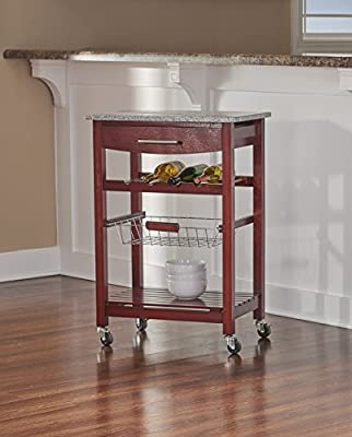 Granite Top Kitchen Cart with Wenge Base