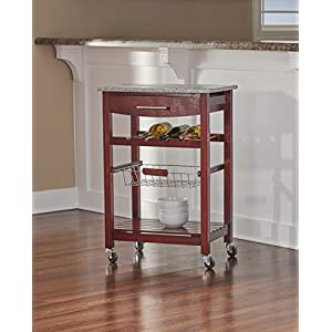 Granite Top Kitchen Cart with Wenge Base