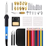 40Pcs Wood Burning Kit, Adjustable Temperature Soldering Iron/Leather Pyrography Pen + Embossing/Carving/Soldering Tips +Stencil + Stand + Carrying Case