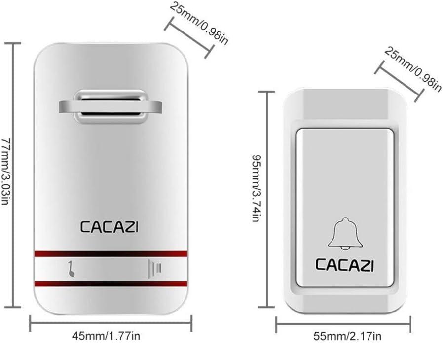 MHCYKJ Sonnette sans Fil Pas Besoin de Batterie LED requis Lumi/ère Sonnette /étanche cin/étique /électronique Sonnette Bouton Poussoir 1 4 R/écepteur