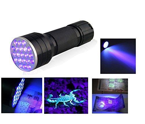 Amazon Lightning Deal 76% claimed: Relefree® 3AAA Aluminium Invisible Blacklight Detection Ink Marker 21LED UV Ultra Violet Mini Portable Flashlight Torch Light Lamp
