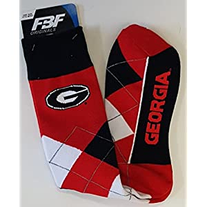 For Bare Feet NCAA Argyle Lineup Unisex Crew Dress Socks-One Size Fits Most-Georgia Bulldogs